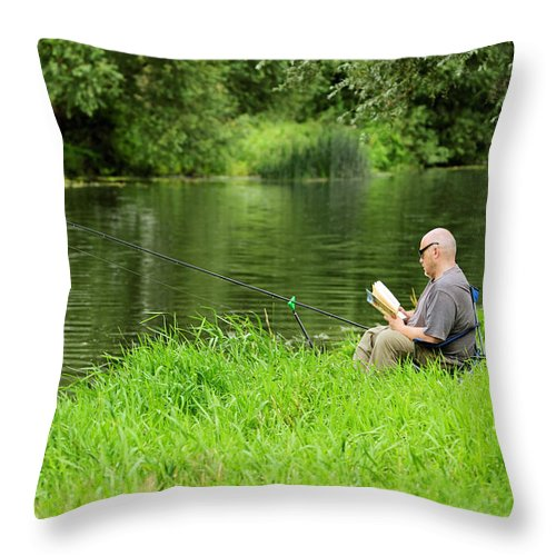 Bright Throw Pillow featuring the photograph Taking A Break From Fishing by Rod Johnson