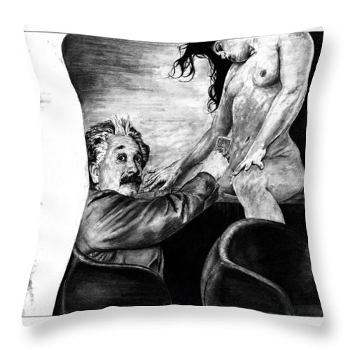 Portrait Girl Woman Charcoal Art Traditional Life 2d Nude Naked Beautiful Albert Einstein Strip Club Throw Pillow featuring the drawing Taking A Day Off by Priscilla Vogelbacher