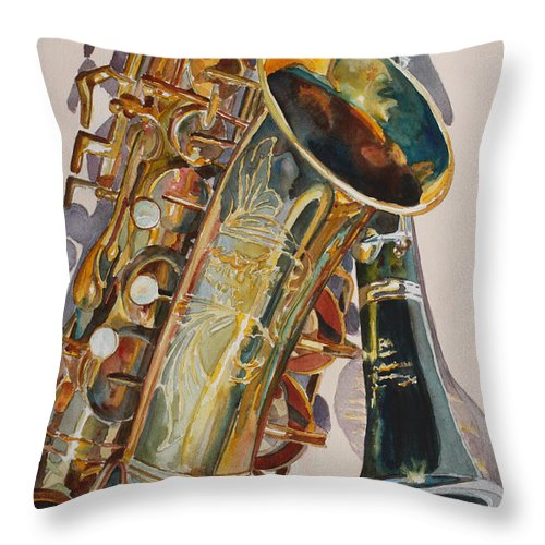 Saxophone Throw Pillow featuring the painting Taking A Shine To Each Other by Jenny Armitage