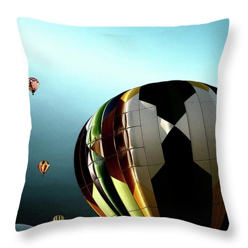 Hot Air Balloons Throw Pillow featuring the photograph Taking Off by David Patterson