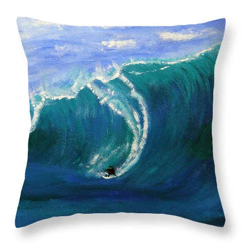 Surf Throw Pillow featuring the painting Taking The Drop by Donna Blackhall