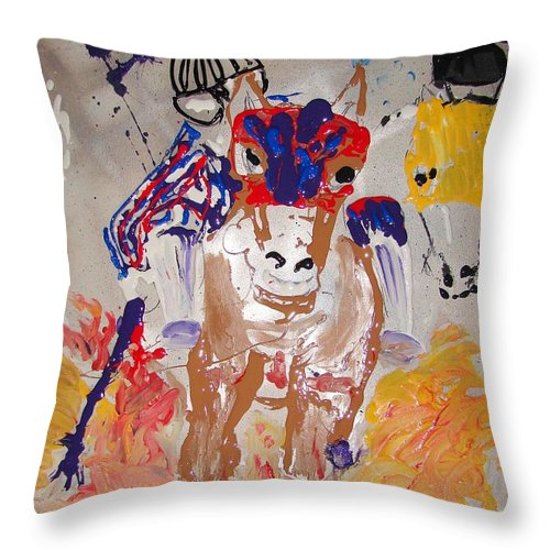 Horse Throw Pillow featuring the mixed media Taking The Lead by J R Seymour