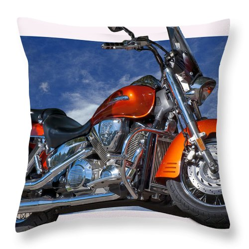 Motorcycles Throw Pillow featuring the photograph Tak'n The High Road by Gary Adkins