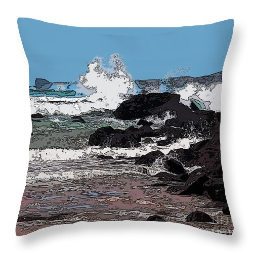 Digital Art Throw Pillow featuring the digital art Takou Bay Digital by Anthony Forster