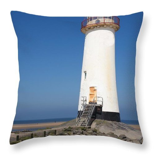 Lighthouse Throw Pillow featuring the photograph Talacre Lighthouse And Beach. by Christopher Rowlands