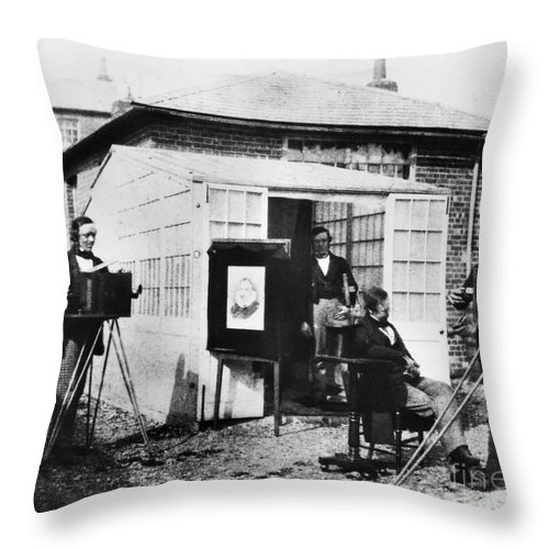 1845 Throw Pillow featuring the photograph Talbotype, 1845 by Granger