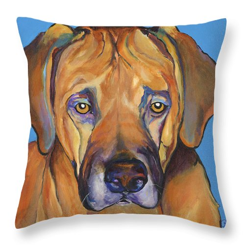 Rhodesian Ridgeback Dog Ridgeback African Colorful Orange Gold Yellow Red Throw Pillow featuring the painting Talen by Pat Saunders-White
