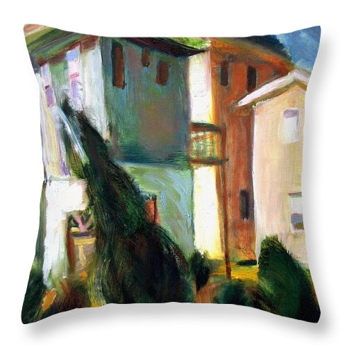 Dornberg Throw Pillow featuring the painting Tall Houses At The Beach by Bob Dornberg