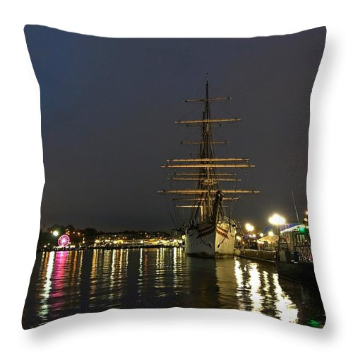 Baltimore Throw Pillow featuring the photograph Tall Ship Docked At The Baltimore Inner Harbor by Doug Swanson