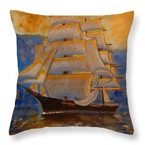 Tall Ship Throw Pillow featuring the painting Tall Ship In The Sunset by Richard Le Page