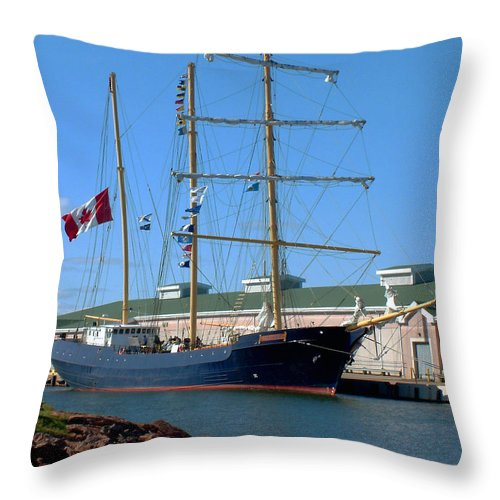 Dock Throw Pillow featuring the photograph Tall Ship Waiting by RC DeWinter