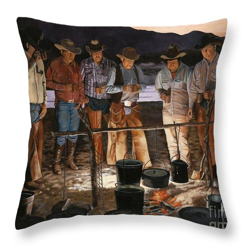 Arizona Throw Pillow featuring the painting Tall Tales by Mary Rogers