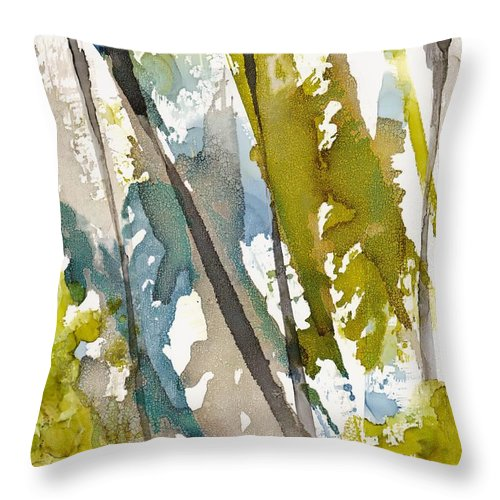 Forest Throw Pillow featuring the painting Tall Timber by Susan Kubes