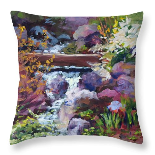 Chicago Botanic Gardens Throw Pillow featuring the painting Tall Waterfall At The Botanic Gardens by Mary Haas