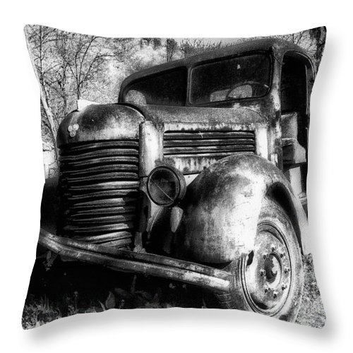 Tam Throw Pillow featuring the photograph Tam Truck Black And White by Marko Mitic
