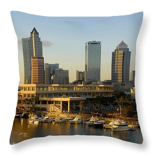 Tampa Bay Florida Throw Pillow featuring the photograph Tampa Bay And Gasparilla by David Lee Thompson