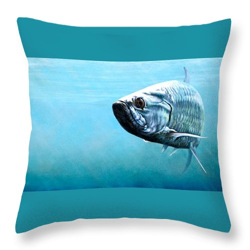 Underwater Throw Pillow featuring the painting Tampa Bay Tarpon by Joan Garcia