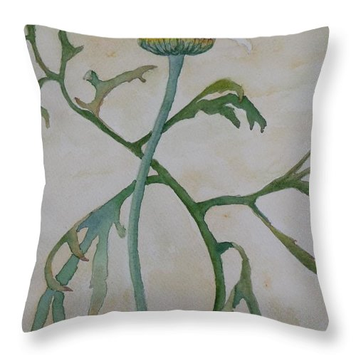 Flower Throw Pillow featuring the painting Tanacetum by Ruth Kamenev