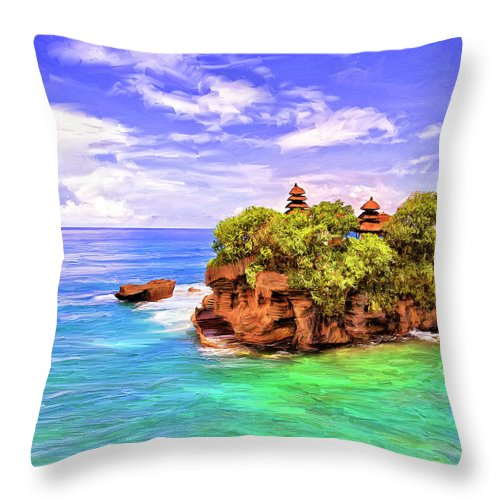 Tanah Lot Throw Pillow featuring the painting Tanah Lot Temple Bali by Dominic Piperata