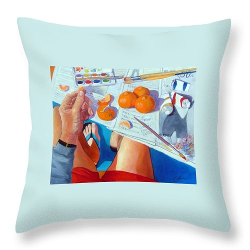 Artist Throw Pillow featuring the painting Tangerine Break by Gary Coleman