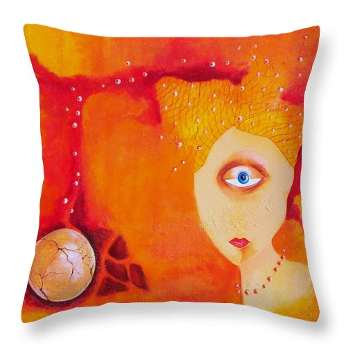 Tangerine Orange Eyes Woman Pearls Thoughts Life Egg Throw Pillow featuring the painting Tangerine Dream by Veronica Jackson
