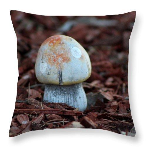 Tombstone Arizona Throw Pillow featuring the photograph Tangerine Orange Toadstool by Colleen Cornelius
