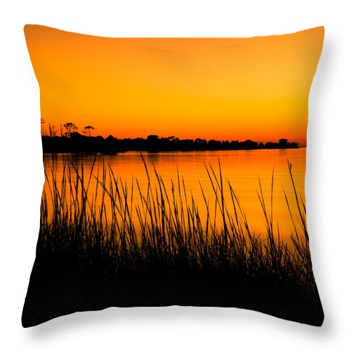 Beach Throw Pillow featuring the photograph Tangerine Sunset by Rich Leighton