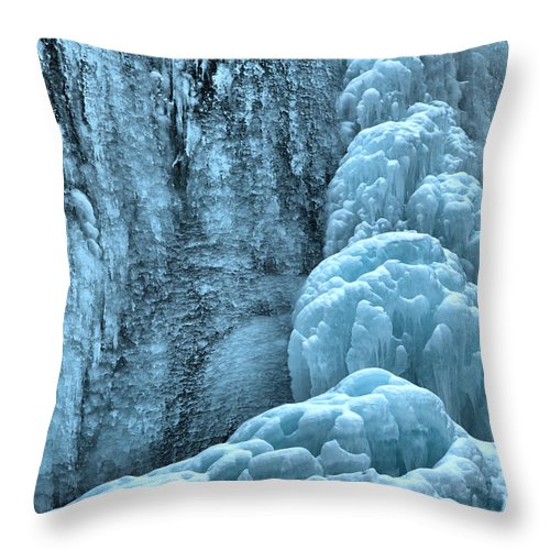 Winter Tangle Falls Throw Pillow featuring the photograph Tangle Falls Frozen In Blue by Adam Jewell
