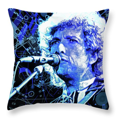Bob Dylan Throw Pillow featuring the mixed media Tangled up in Blue, Bob Dylan by Mal Bray