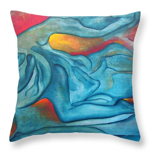 Abstract Blues Love Passion Sensual Earth Throw Pillow featuring the painting Tangled Up by Veronica Jackson