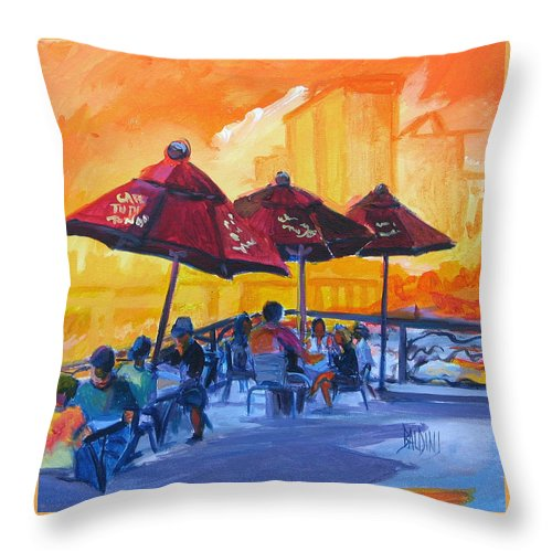 Outdoor Cafe Throw Pillow featuring the painting Tango by J R Baldini