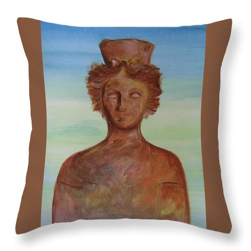 Icon Throw Pillow featuring the painting Tanit Mythical Godess Of Ibiza by Lizzy Forrester