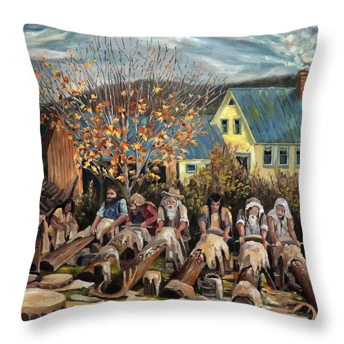 Allegorical Painting Throw Pillow featuring the painting Tanning Workshop by Nancy Griswold