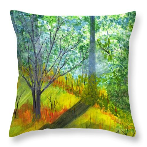 Landscape Throw Pillow featuring the painting Tannis Woods by David Bartsch
