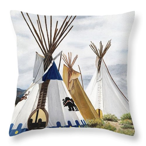 Art Throw Pillow featuring the painting Taos by Mary Rogers