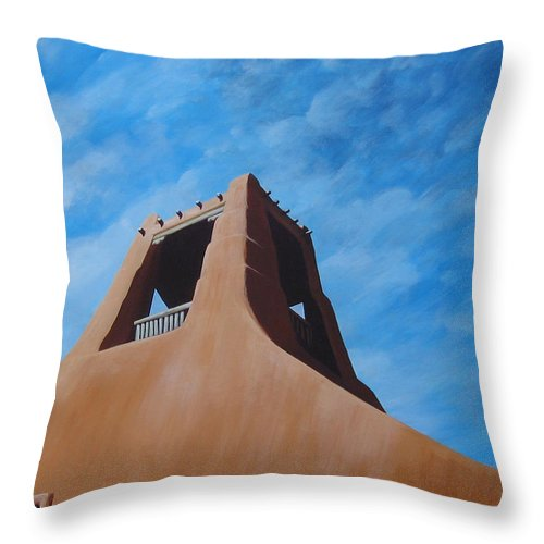 Taos Throw Pillow featuring the painting Taos Memory by Hunter Jay