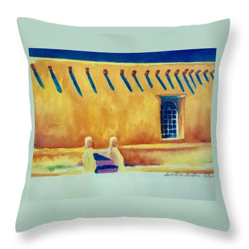 Taos Noon Throw Pillow featuring the painting Taos Noon by Caroline Patrick