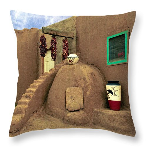 Pueblo Throw Pillow featuring the photograph Taos Oven by Jerry McElroy