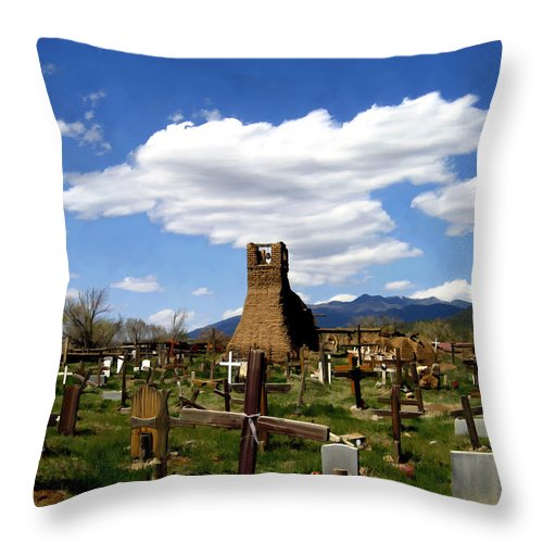 Taos Throw Pillow featuring the photograph Taos Pueblo Cemetery by Kurt Van Wagner