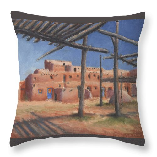Taos Throw Pillow featuring the painting Taos Pueblo by Jerry McElroy