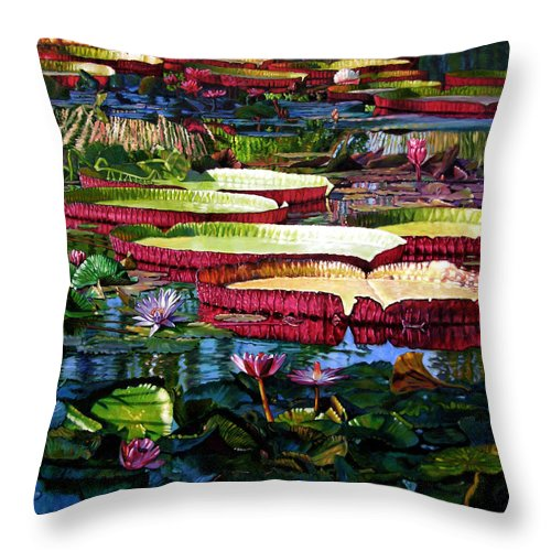 Landscape Throw Pillow featuring the painting Tapestry Of Color And Light by John Lautermilch