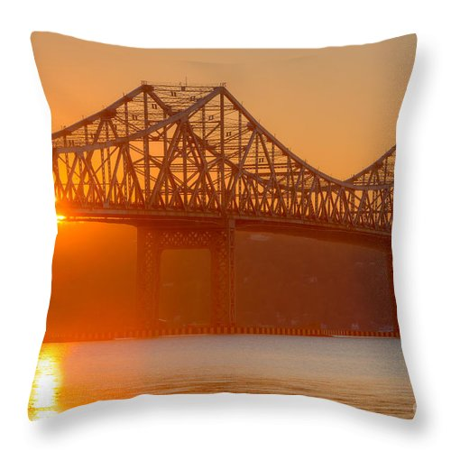 Clarence Holmes Throw Pillow featuring the photograph Tappan Zee Bridge At Sunset I by Clarence Holmes