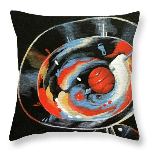 Tar Heel Throw Pillow featuring the painting Tar Heel Martini III  by Torrie Smiley
