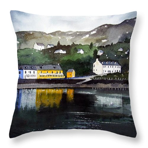 Scottish Fishing Harbour Throw Pillow featuring the painting Tarbert Reflections by Paul Dene Marlor