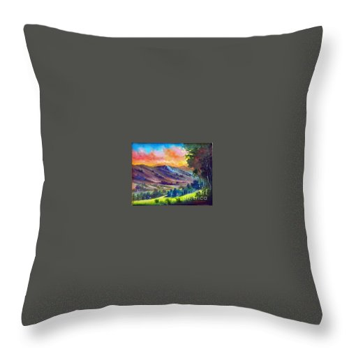 Landscape Throw Pillow featuring the painting Tarde De Sol by Leomariano artist BRASIL
