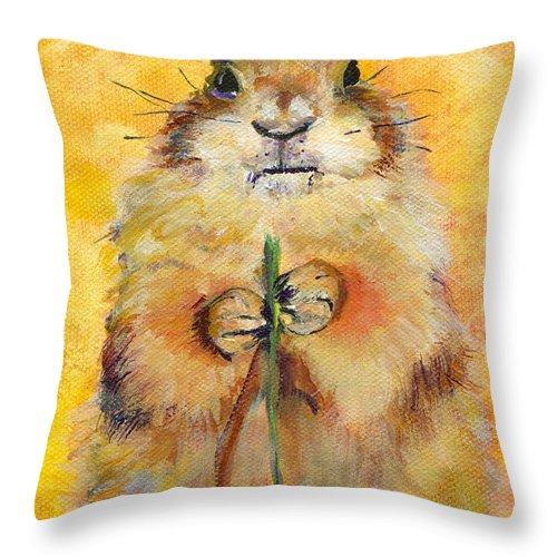 Prairie Dog Painting Throw Pillow featuring the painting Target by Pat Saunders-White