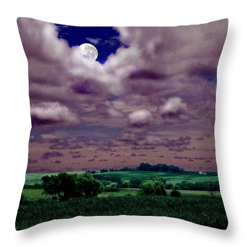 Landscape Throw Pillow featuring the photograph Tarkio Moon by Steve Karol