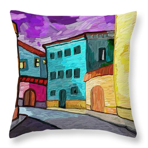 Figurative Throw Pillow featuring the painting Tarraco by Xavier Ferrer
