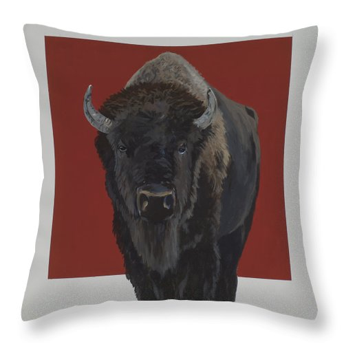 American Bison Throw Pillow featuring the painting Tatonka by Marston A Jaquis