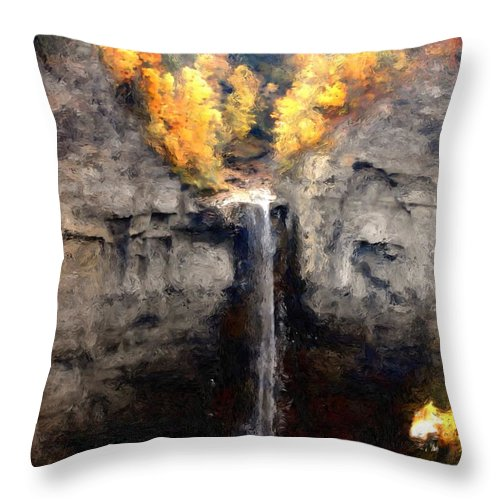Taughannock Falls Throw Pillow featuring the photograph Taughannock Falls by David Lane